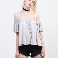 Flutter Off-the-Shoulder Crop Top