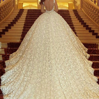 Vestido De Noiva 2017 Vintage Cathedral Train Lace Ball Gown Wedding Dress Luxury Crystal Beading Back Sheer Sexy Wedding Gowns