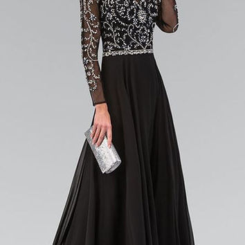 2016 Black Silver Long Sleeves Beaded Long Prom Dresses Vestido De Festa Sparkly Teens China Prom Gowns Fast Shipping