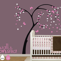 Blossom Tree with Butterflies Wall Decal Cherry by WallConsilia