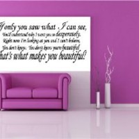 "THAT'S WHAT MAKES YOU BEAUTIFUL ~ ONE DIRECTION: WALL DECAL, 12"" X 27"""