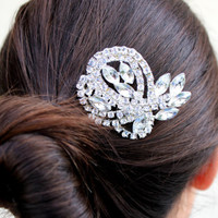 Catherine - Wedding Hair Comb Brooch Bridal Hair Comb Rhinestone Hair Comb Silver Crystal Hairpiece