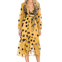 Heather Scarf Midi Dress in Mustard