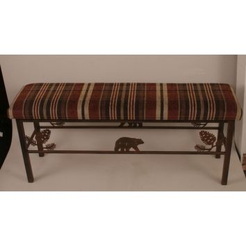 Coast Lamps Iron Bear & Pine Cone Bench With Plaid Fabric Top Lamp