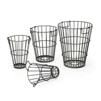"Eclipse Home Collection Set of Four Croppers Baskets Small: 12"" H x 8.25"" Dia. · Medium: 13"" H x 10"" Dia. · Large: 15"" H x 12.5"" Dia. · Largest measurements: 15.5"" Dia x 19"" H"