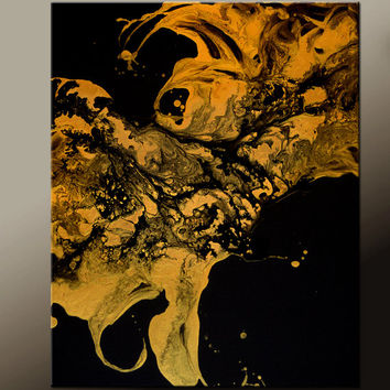 Abstract Art Painting 18x24 Canvas Contemporary Gold Painting by Destiny Womack - dWo - Golden Memory