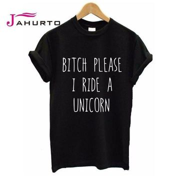 DCCKU62 2016 Summer T shirt Women BITCH PLEASE I RIDE A UNICORN Printed T-shirt Short Sleeve Funny Tops