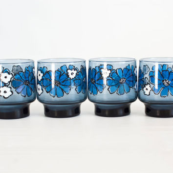 Vintage Libbey Dusky Blue Camellia Tumblers, Rock Sharpe SET of 4 Juice Glasses, Blue and White Flowers, Mid Century Barware