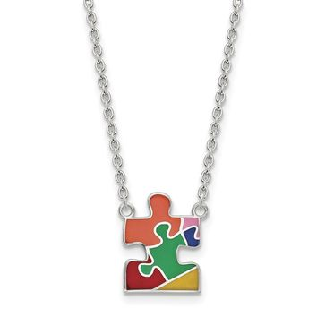 925 Sterling Silver Rhodium-plated Enameled Autism Puzzle Piece Necklace