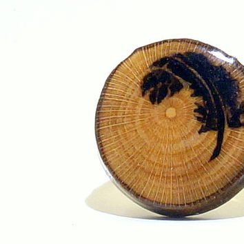 Feather Silhouette Ring| Wood Burned Sycamore Tree Slice| Rustic Boho Black Feather Ring| Handmade Wooden Adjustable Ring| Wood with Resin