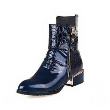 Black Patent Leather Ankle Boots