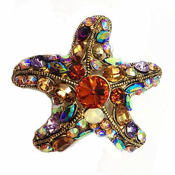 Newest Gold Plated Muticolor Crystal Rhinestone Starfish Brooches and Pins For Party Gift