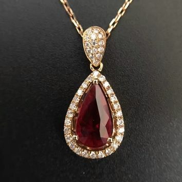 18K Gold 1.301ct Natural Ruby and Pendant Necklace 0.265ct Diamond inlaid 2016 Factory Direct New Arrival Fine Jewelry