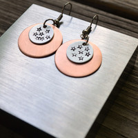 Dark Star Earrings - Rustic - Modern - Stars - Copper - Silver - Aluminum - Circles - Geometric - For Her - Metal Stamping - One of a Kind