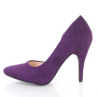Purple Pointy Toe DOrsay Single Sole High Heels Faux Suede
