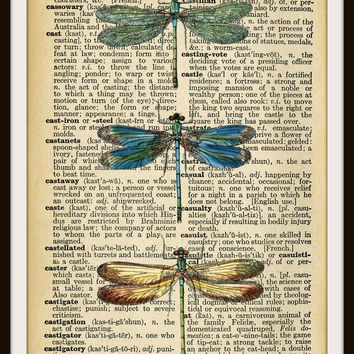 "Vintage Art Print Dragonflies on Ephemera Dictionary Page, Print Wall Decor, 8.5 x 11"" Unframed Printed Art Image"