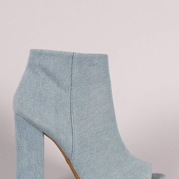 Bamboo Denim Peep Toe Chunky Heeled Booties