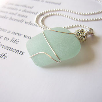 Seafoam seaglass Mermaid Necklace - Real Beach Glass Nautical Jewelry - Bride's Necklace for Destination Wedding FREE SHIPPING