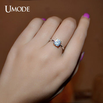 UMODE White Gold Color 4 Prongs 1.25 Carat Single CZ Shiny Stone Anelli Donna Simple Wedding Rings JR0136B