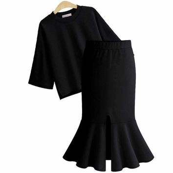 Summer Thin Two-Piece Large Size Women's Sleeve Fishtail Skirt Women Tracksuit 2 Pieces Temperament Clothing