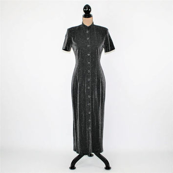 Short Sleeve Fitted Maxi Dress Sparkly Gray Button Up Mandarin Collar Minimalist Cocktail Dress Dark Gray Vintage Clothing Womens Clothing