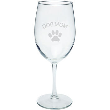 Mother's Day - Dog Mom Etched Wine Glass
