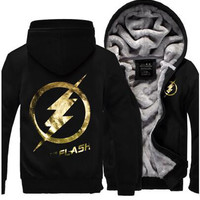 The Flash hoody Anime Justice League Hooded Thick New Fashion Autumn Winter Jackets and Coats Zipper Men cardigan Sweatshirt mma