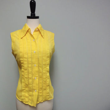 Sunshine Yellow Sleeveless Blouse, Dotted Swiss. Pleated, 60s Vintage Top, The Villager