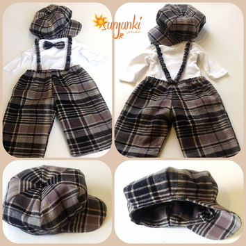 Baby Boy Outfit Newborn Infant Suit Newsboy Hat Toddler Flannel Plaid Pant Onesuit Set Bow Tie Removable Stretch Matching Suspenders Black
