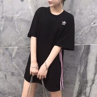 """Adidas"" Sport Casual Simple Stripe Round Neck Short Sleeve T-shirt Mini Dress"