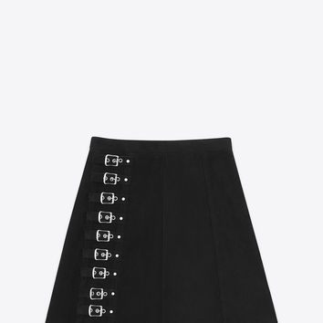 Saint Laurent Buckled Trapèze Mini Skirt In Black Suede - ysl.com