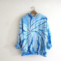 Vintage blue and white tie dye sweatshirt. Hooded sweatshirt. cotton hoodie.