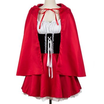 2018 New Adult Little Red Riding Hood Costume for Women Halloween Cosplay Fantasia Dress+Cloak Party Game Uniforms Size S-6XL