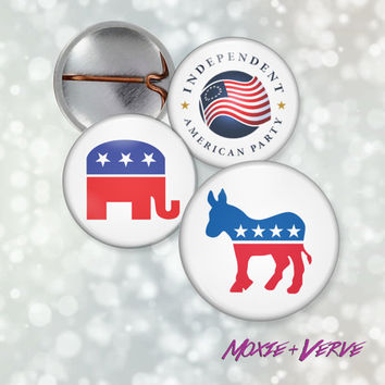 Political Party Button Pin, 1 inch, Democrat, Republican, Independent, Libertarian, Button, Pinback Button, Patriotic