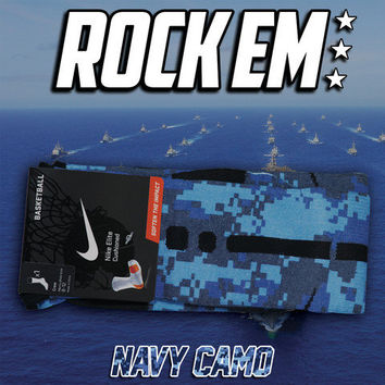 Navy Digital Camo Elite Socks | Rock 'Em Apparel