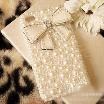 Full Back Pearls Cute White Crystal Bowknot Hard Phone Cases Coque Back Cover