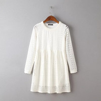 Summer Korean Women's Fashion Lace Hollow Out Long Sleeve One Piece Dress [6033327297]