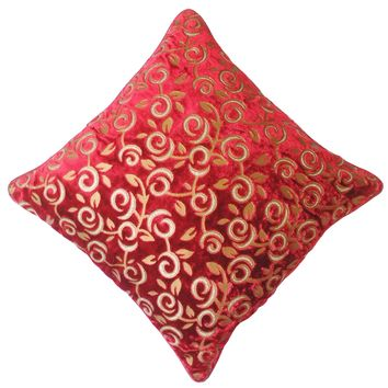 """16"""" x 16"""" with INSERT Sheen Soft Decorative Velvet Throw Pillow Luxury Shinny Square Cushion for Couch Sofa Bedroom and Living Room Red Color"""