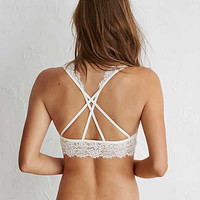 Aerie Romantic Lace Strappy Back Bralette, Soft Muslin