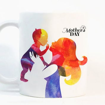 Mother's day coffee mug Mother's day mug Watercolor Mug Gift mug Coffee Cup Gift for her Printed mug Ceramic mug Zebra gift