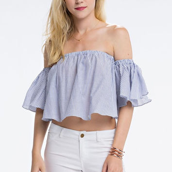Indigo Ruffles Crop Top