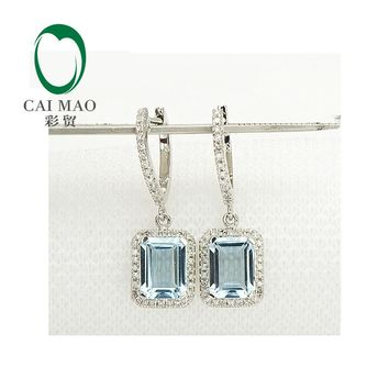 14KT White Gold Natural 3.19CT Aquamarine Diamond Halo Drop