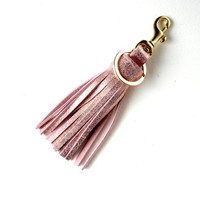 Leather tassel keychain,Sparkled rose gold leather tassel,Key fob,Leather bag charm,Leather tassel charm,Bridemaids gifts,Gifts for her