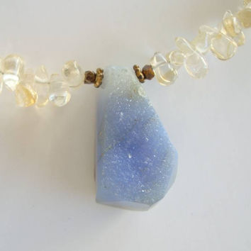 Chalcedony Drusy Pendant Necklace Smoky Quartz Beads Gemstone Jewelry