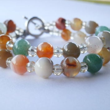 Multi Gemstone Bracelet. OOAK Eco-Friendly Jewelry. Mixed Vintage Natural Gemstones. Boho Beaded Multi Strand Bracelet For Stacking