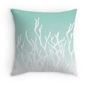 Aqua Coral Ombre Pillow Cover