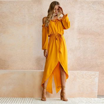 Off-Shoulder Asymmetrical Long Yellow Ruffle Dress