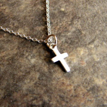Tiny Cross Necklace- Sterling- Charm Necklace- Mini- Dainty Necklace- Minimalist- Modern- Christian- Religious- Simple- Everyday