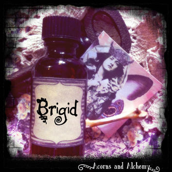 BRIGID (primary notes: bergamot, pink lotus, amber, ginger, clove, vanilla, cocoa) Hand Blended Artisan Oil-Perfume, Anointing Oil