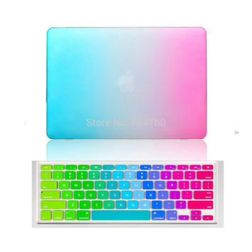 Rainbow Matte Case with Silicone Keyboard Cover for MacBook air Pro retina 11 12 13 15 Laptop bag case for mac book 13.3 inch